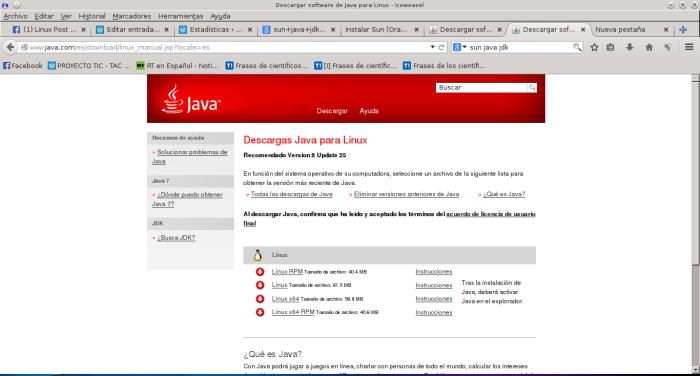 Descargar software de Java para Linux - Iceweasel_039