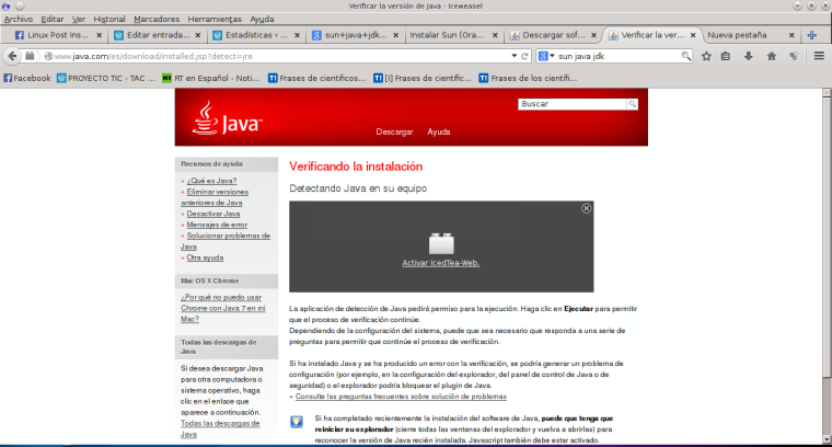 Verificar la versión de Java - Iceweasel_033