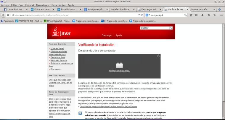 Verificar la versión de Java - Iceweasel_034