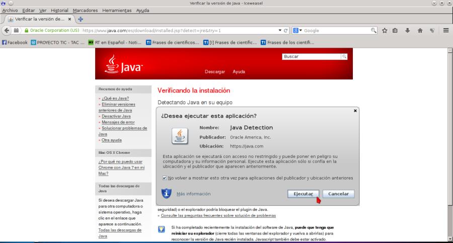 Verificar la versión de Java - Iceweasel_059