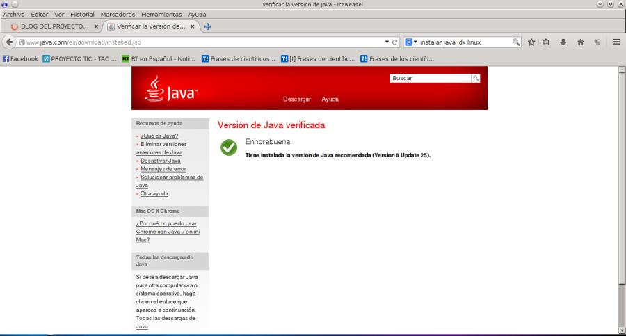 Verificar la versión de Java - Iceweasel_061