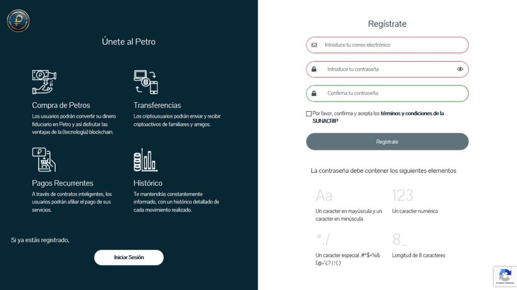 Ventana de procedimiento de registro de la Plataforma web del Sistema PetroApp