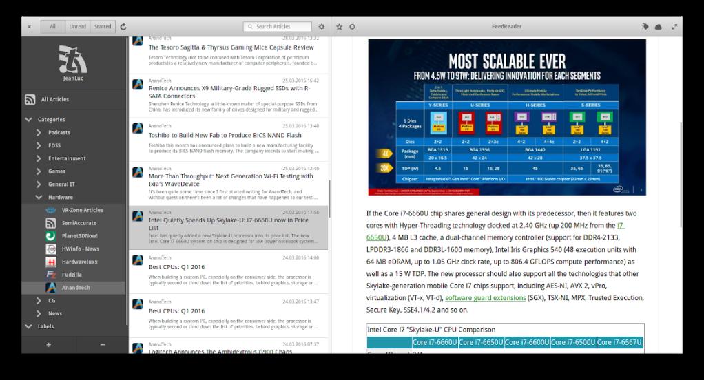 FeedReader: Excelente gestor de escritorio para los RSS de nuestras webs favoritas.