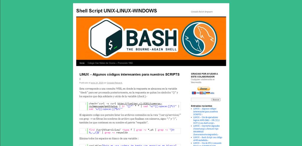 Blog: Shell Script UNIX-LINUX-WINDOWS - Blog de Gonzalo Reiser Ampuero