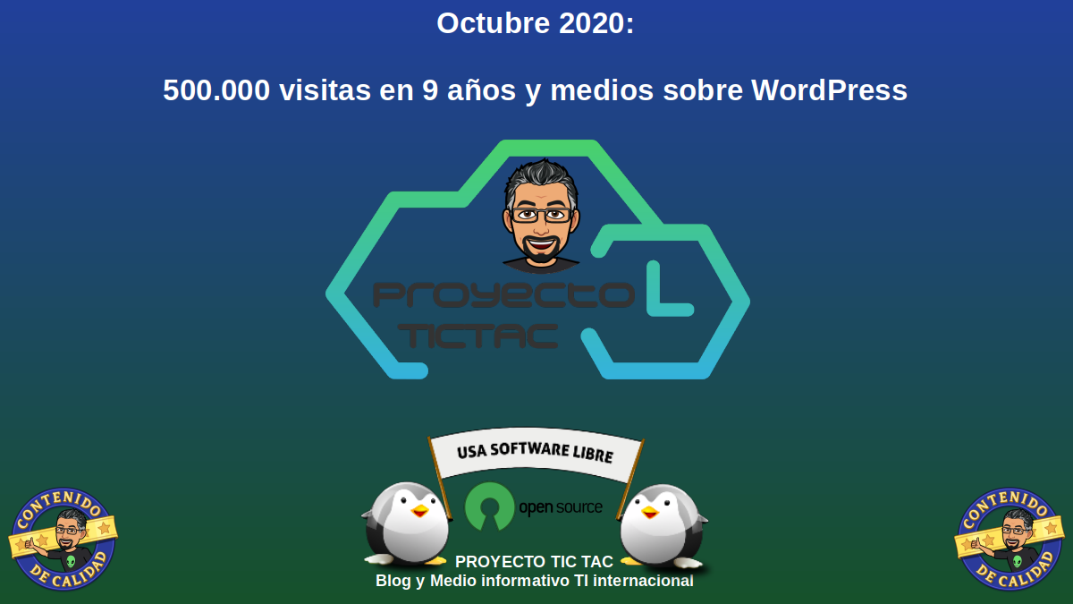 Octubre 2020: 500.000 visitas en 9 años y medios sobre WordPress