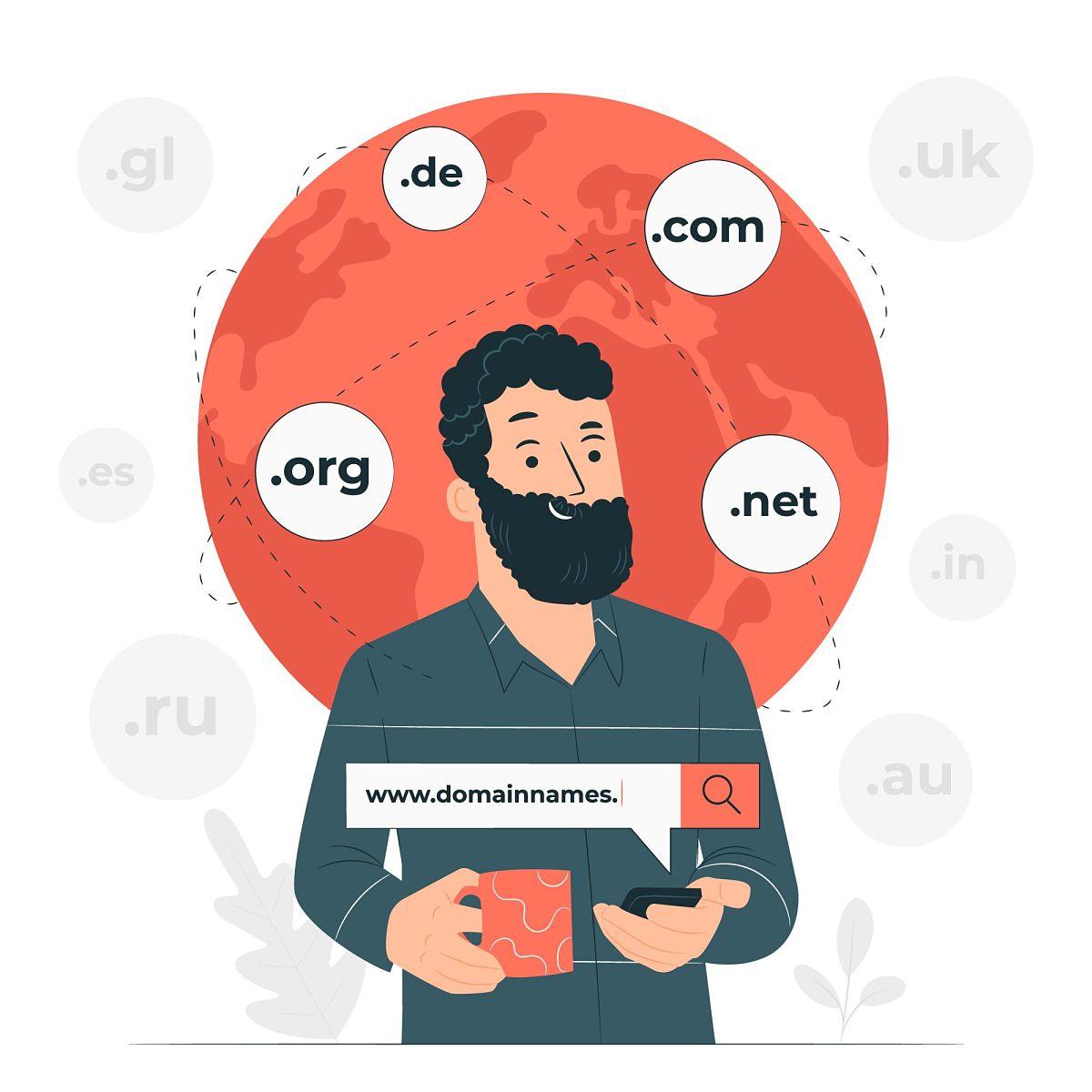 seleccionar nombre de dominio .com, .org, .net