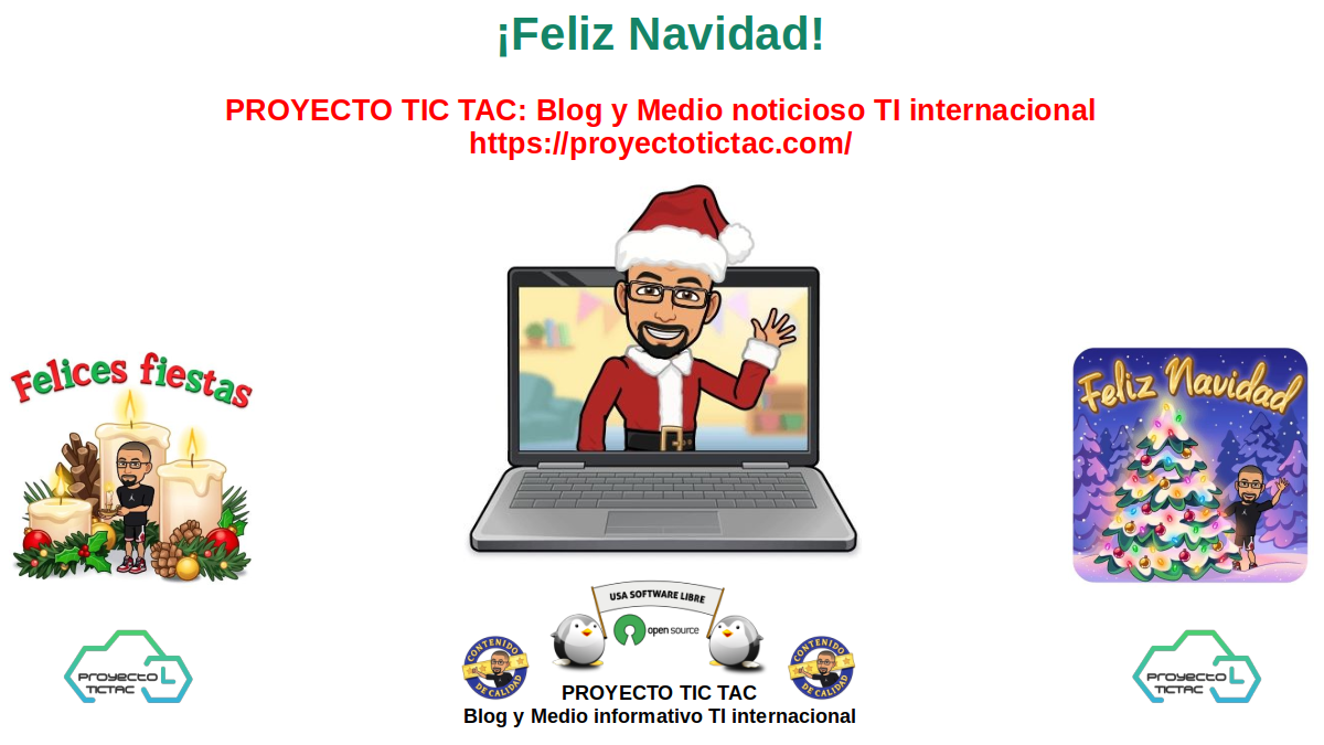 ¡Feliz Navidad 2020! De parte del Proyecto Tic Tac a toda su Comunidad, visitantes y demás lectores