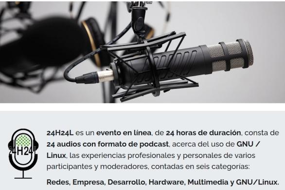 24H24L es un evento en línea, de 24 horas de duración, consta de 24 audios con formato de podcast, acerca del uso de GNU / Linux y más.