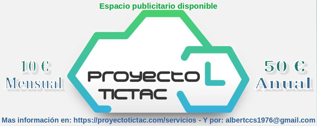 Proyecto Tic Tac: Espacio publicitario disponible 2021