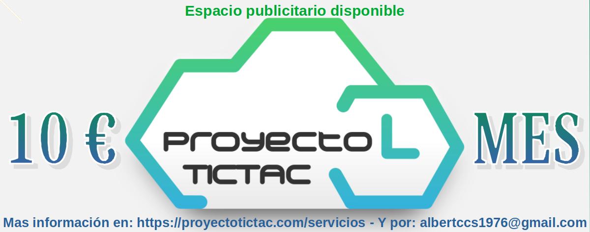 Proyecto Tic Tac: Espacio publicitario disponible