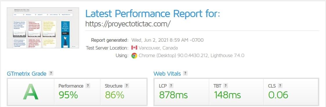 "Mayo/2021: Análisis de carga usando ""Performance Testing and Monitoring Tool"" de GTMetrix"